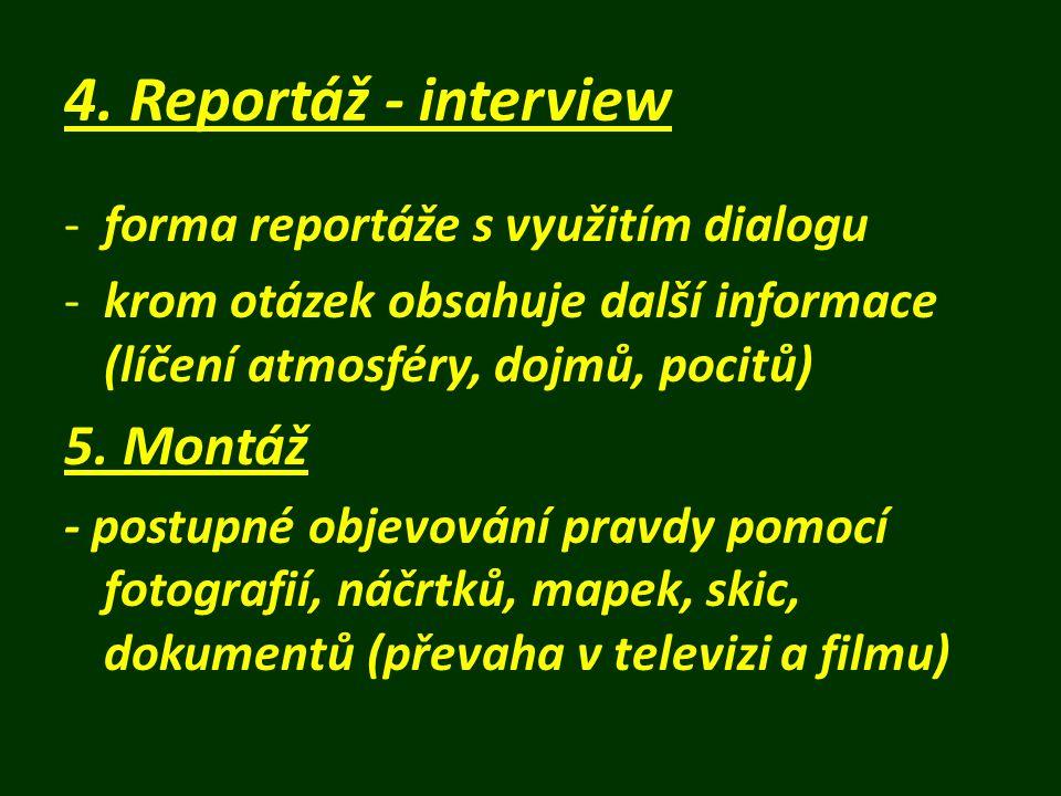 Důležitost detailu -reportáž charakterizuje (dává jí atmosféru) -přesvědčuje čtenáře (diváka, posluchače) o pravdivosti -vyjadřuje, jak autor vidí a zachycuje okolí -odráží schopnost autora vidět podstatné -příliš mnoho nepodstatných detailů reportáž rozmělňuje -účelový výběr detailů = m a n i p u l a c e