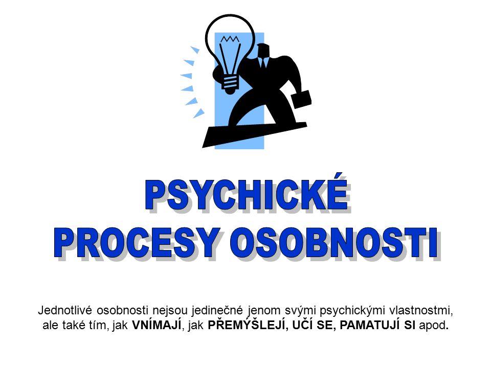 VNÍMÁNÍ je psychický proces, který zachycuje to, co v daném okamžiku působí na naše smyslové orgány.