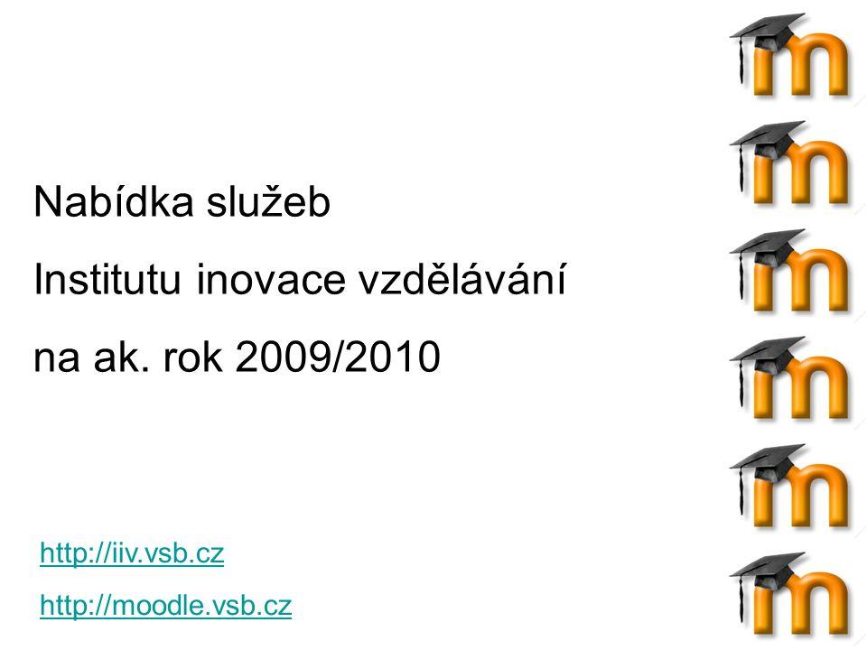 Uživatelům, kteří již mají svůj kurz v LMS Moodle, nabízíme: Založení zcela nového kurzu pro nový akademický rok Vytvoření kopie existujícího kurzu Vytvoření částečné kopie existujícího kurzu Pomoc při vkládání velkých souborů (nad 8 MB) Pomoc a poradenství při úpravě existujících či nově vytvořených kurzů Kontakt: Ing.