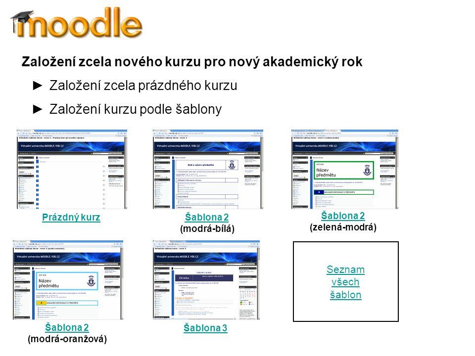 Založení zcela nového kurzu pro nový akademický rok ►Založení zcela prázdného kurzu ►Založení kurzu podle šablony Prázdný kurz Šablona 2 Šablona 2 (modrá-bílá) Šablona 2 Šablona 2 (modrá-oranžová) Šablona 2 Šablona 2 (zelená-modrá) Šablona 3 Seznam všech šablon