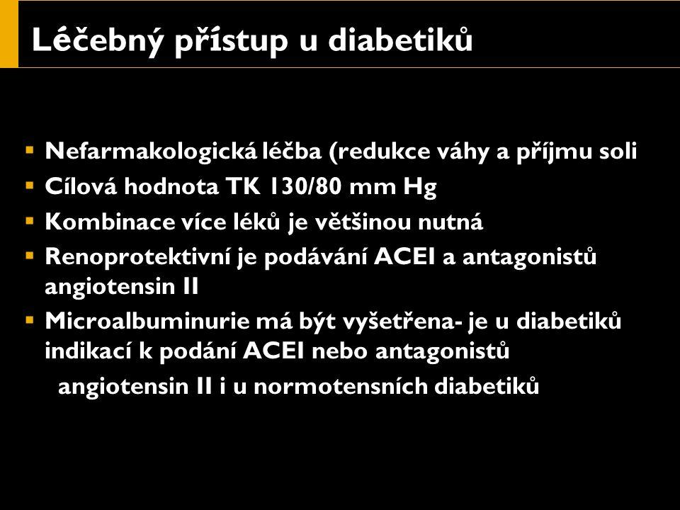 L é čebný př í stup u diabetiků  Nefarmakologická léčba (redukce váhy a příjmu soli  Cílová hodnota TK 130/80 mm Hg  Kombinace více léků je většinou nutná  Renoprotektivní je podávání ACEI a antagonistů angiotensin II  Microalbuminurie má být vyšetřena- je u diabetiků indikací k podání ACEI nebo antagonistů angiotensin II i u normotensních diabetiků