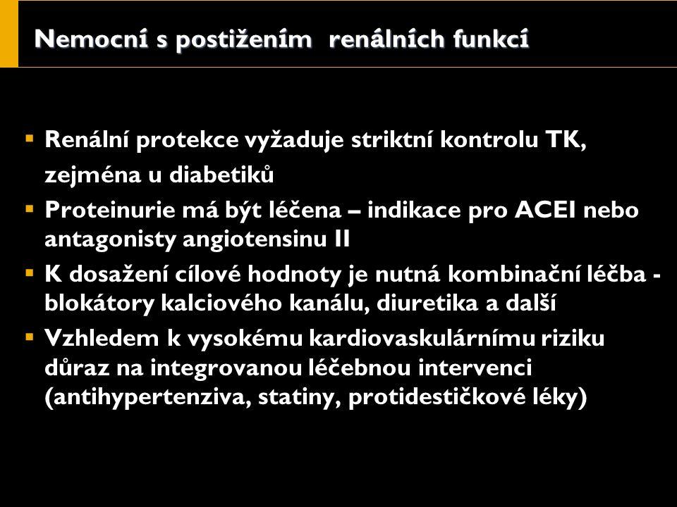 Nemocn í s postižen í m ren á ln í ch funkc í  Renální protekce vyžaduje striktní kontrolu TK, zejména u diabetiků  Proteinurie má být léčena – indikace pro ACEI nebo antagonisty angiotensinu II  K dosažení cílové hodnoty je nutná kombinační léčba - blokátory kalciového kanálu, diuretika a další  Vzhledem k vysokému kardiovaskulárnímu riziku důraz na integrovanou léčebnou intervenci (antihypertenziva, statiny, protidestičkové léky)