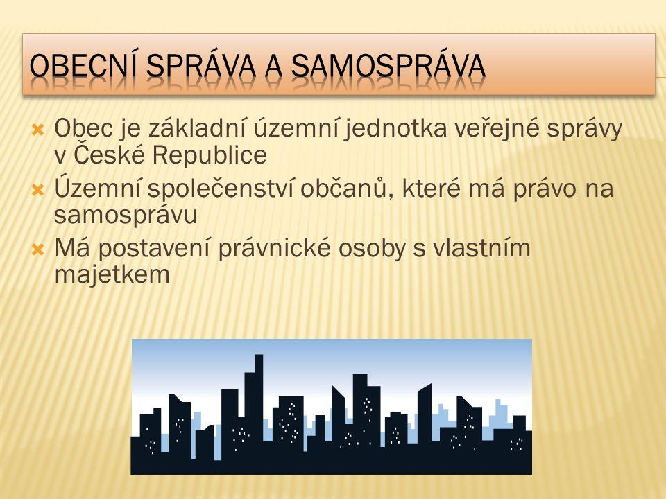  Obec je základní územní jednotka veřejné správy v České Republice  Územní společenství občanů, které má právo na samosprávu  Má postavení právnické osoby s vlastním majetkem