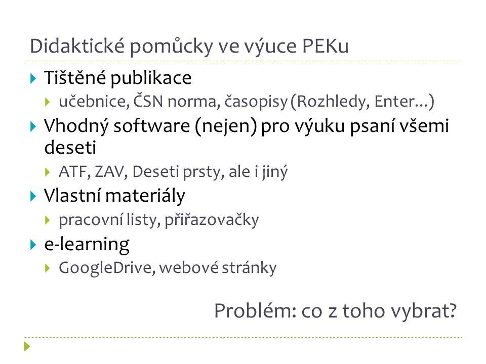 Didaktické pomůcky ve výuce PEKu  Tištěné publikace  učebnice, ČSN norma, časopisy (Rozhledy, Enter...)  Vhodný software (nejen) pro výuku psaní všemi deseti  ATF, ZAV, Deseti prsty, ale i jiný  Vlastní materiály  pracovní listy, přiřazovačky  e-learning  GoogleDrive, webové stránky Problém: co z toho vybrat