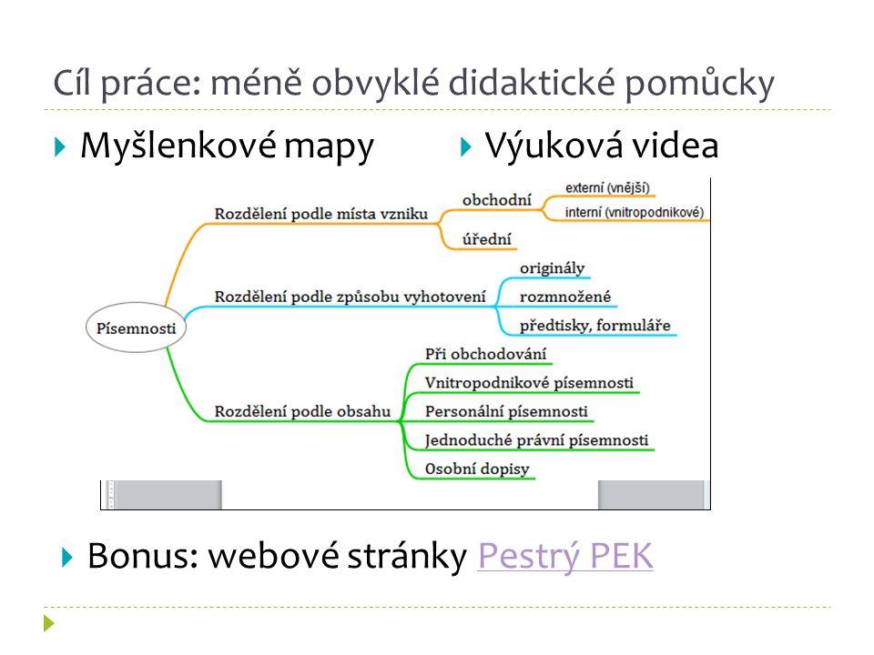 Cíl práce: méně obvyklé didaktické pomůcky  Myšlenkové mapy  Výuková videa  Bonus: webové stránky Pestrý PEKPestrý PEK
