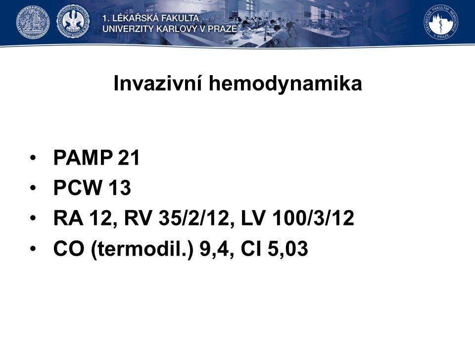 Invazivní hemodynamika PAMP 21 PCW 13 RA 12, RV 35/2/12, LV 100/3/12 CO (termodil.) 9,4, CI 5,03