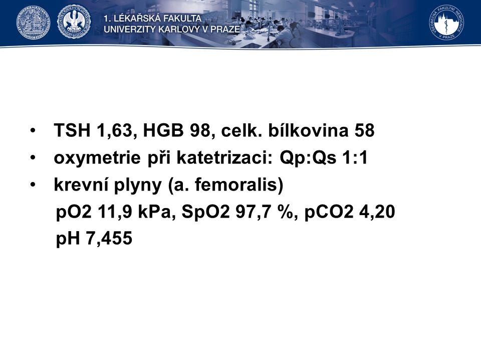 TSH 1,63, HGB 98, celk. bílkovina 58 oxymetrie při katetrizaci: Qp:Qs 1:1 krevní plyny (a.