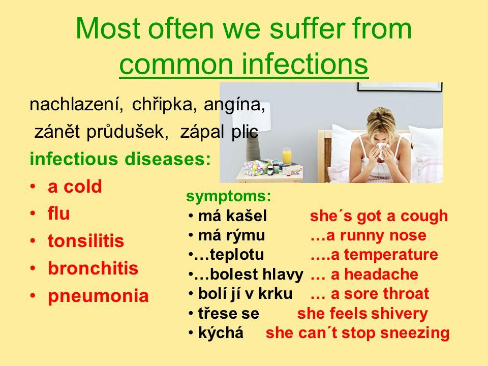 plané neštovice, příušnice, spalničky, zarděnky, zánět stř. ucha - chicken pox - mumps - measles - rubeola - otitis School children suffer from childh