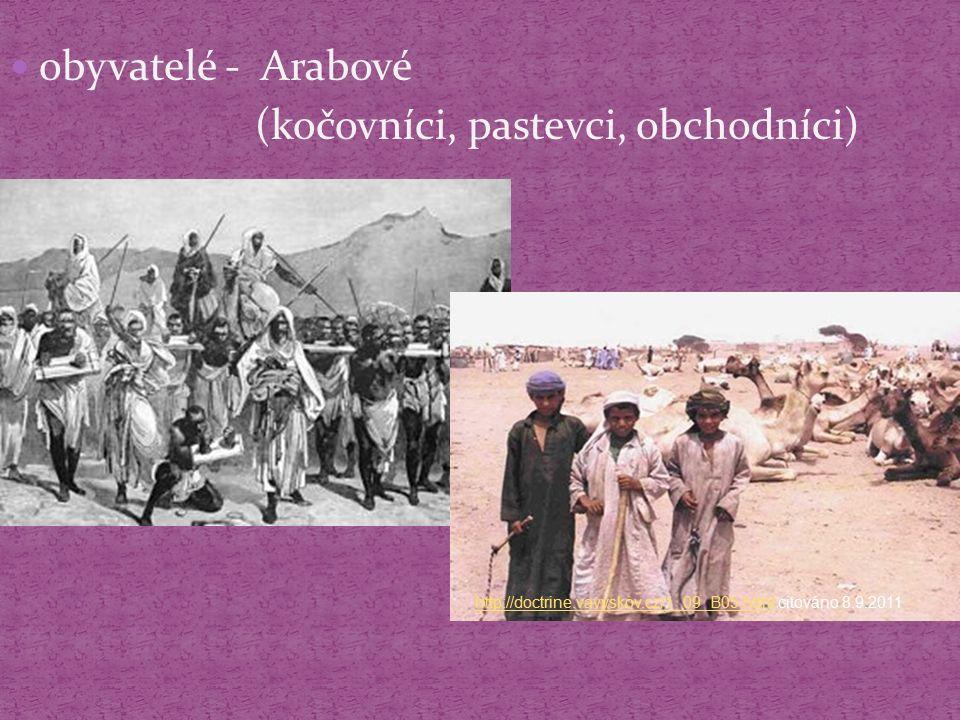 obyvatelé - Arabové (kočovníci, pastevci, obchodníci) http://doctrine.vavyskov.cz/1_09_B05.htmlhttp://doctrine.vavyskov.cz/1_09_B05.html citováno 8.9.