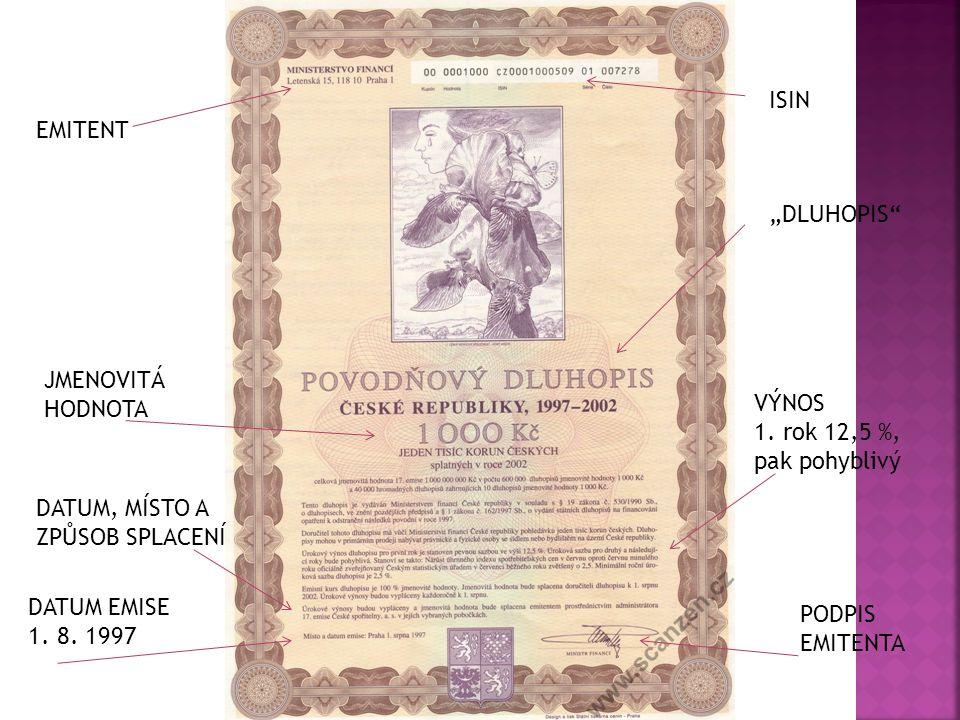 """EMITENT """"DLUHOPIS"""" ISIN JMENOVITÁ HODNOTA VÝNOS 1. rok 12,5 %, pak pohyblivý DATUM EMISE 1. 8. 1997 DATUM, MÍSTO A ZPŮSOB SPLACENÍ PODPIS EMITENTA"""