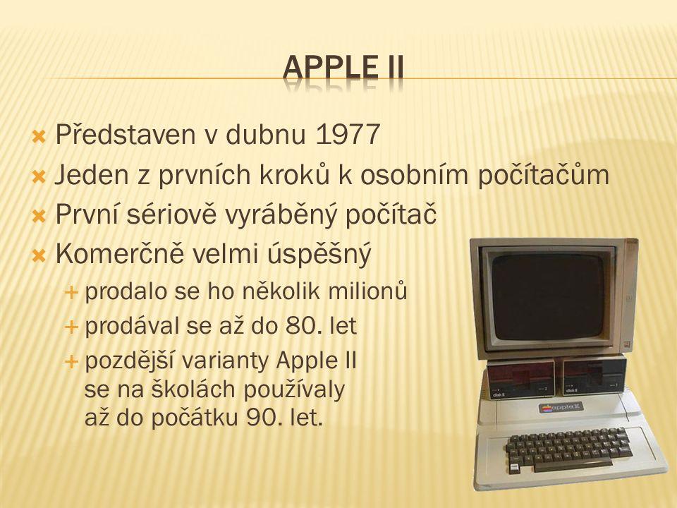  Představen v dubnu 1977  Jeden z prvních kroků k osobním počítačům  První sériově vyráběný počítač  Komerčně velmi úspěšný  prodalo se ho několi