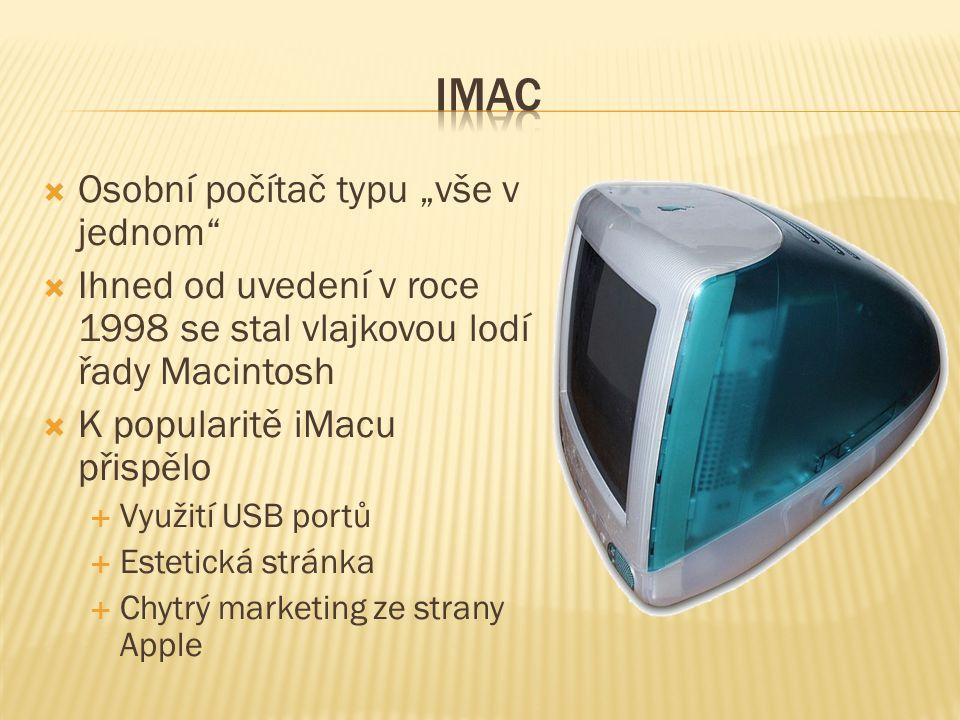 """ Osobní počítač typu """"vše v jednom  Ihned od uvedení v roce 1998 se stal vlajkovou lodí řady Macintosh  K popularitě iMacu přispělo  Využití USB portů  Estetická stránka  Chytrý marketing ze strany Apple"""