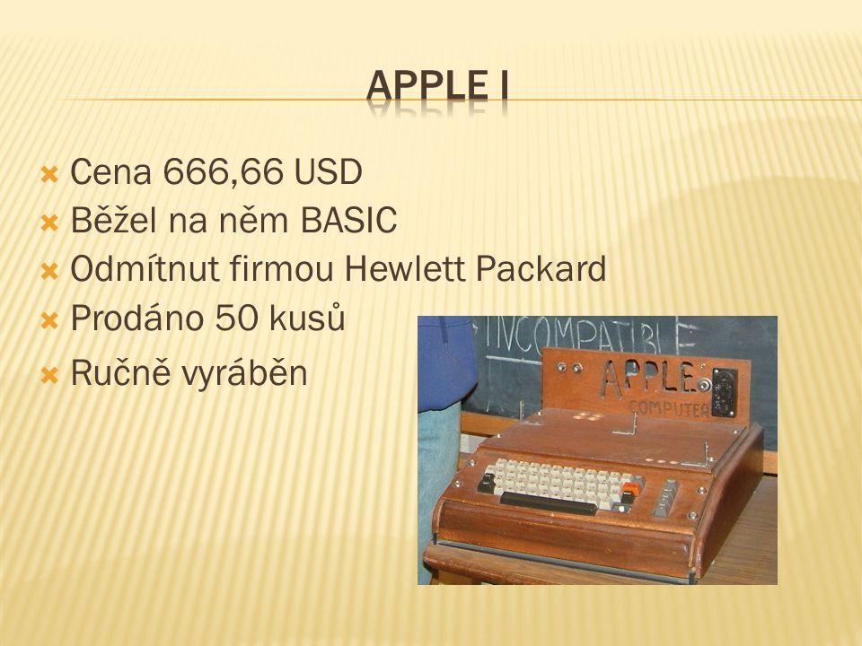  Představen v dubnu 1977  Jeden z prvních kroků k osobním počítačům  První sériově vyráběný počítač  Komerčně velmi úspěšný  prodalo se ho několik milionů  prodával se až do 80.