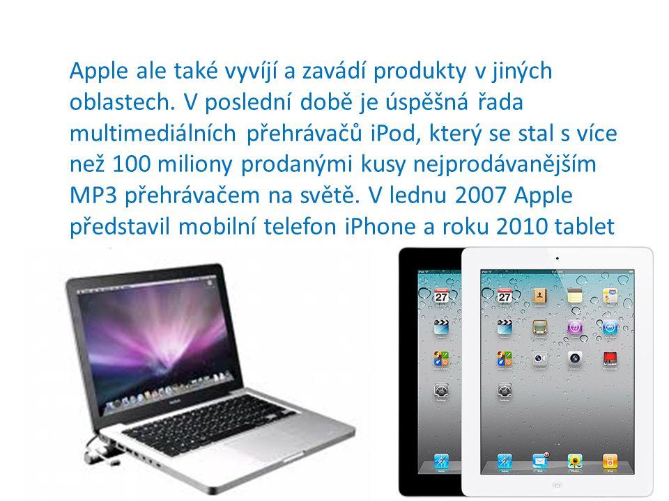 Apple ale také vyvíjí a zavádí produkty v jiných oblastech.