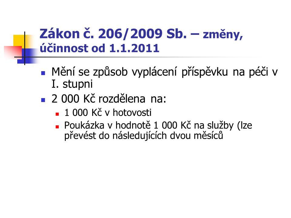 Zákon č.206/2009 Sb. – změny, účinnost od 1.1.2011 Mění se způsob vyplácení příspěvku na péči v I.