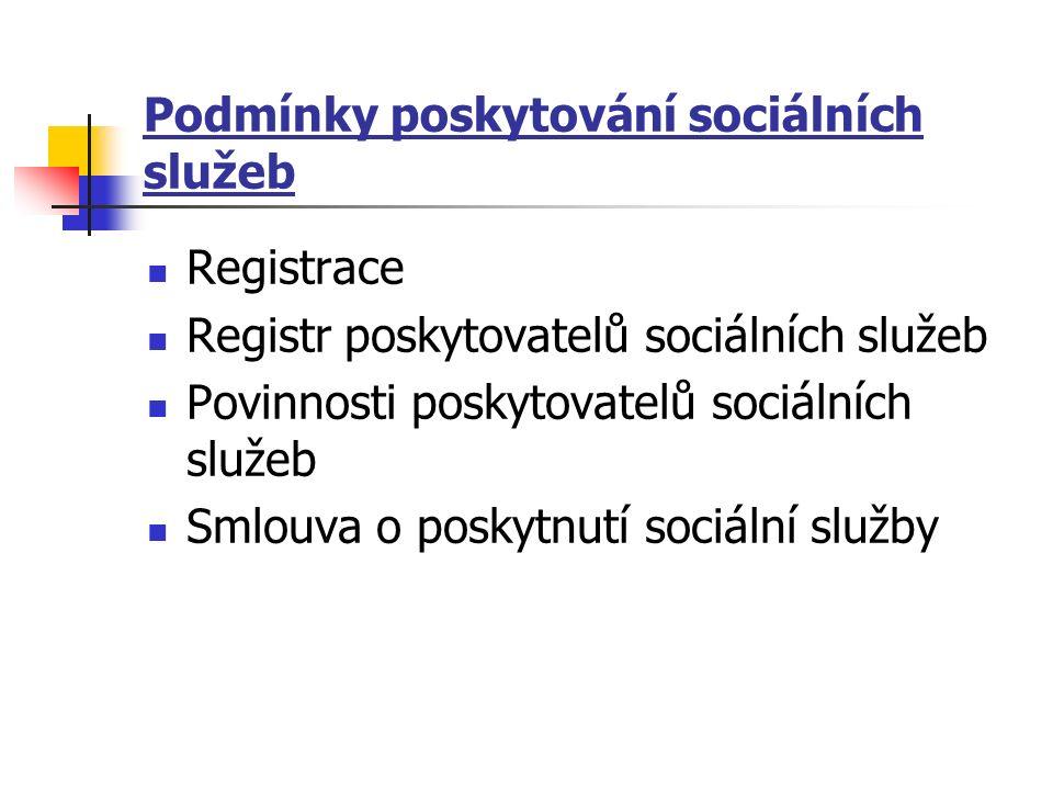 Podmínky poskytování sociálních služeb Registrace Registr poskytovatelů sociálních služeb Povinnosti poskytovatelů sociálních služeb Smlouva o poskytnutí sociální služby