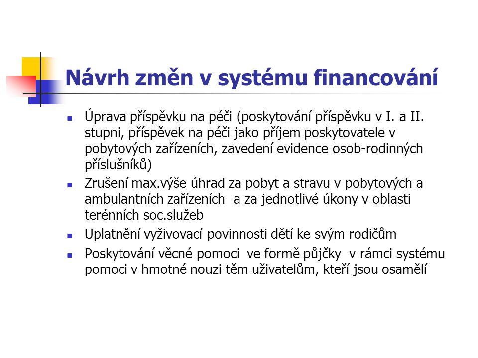 Návrh změn v systému financování Úprava příspěvku na péči (poskytování příspěvku v I.