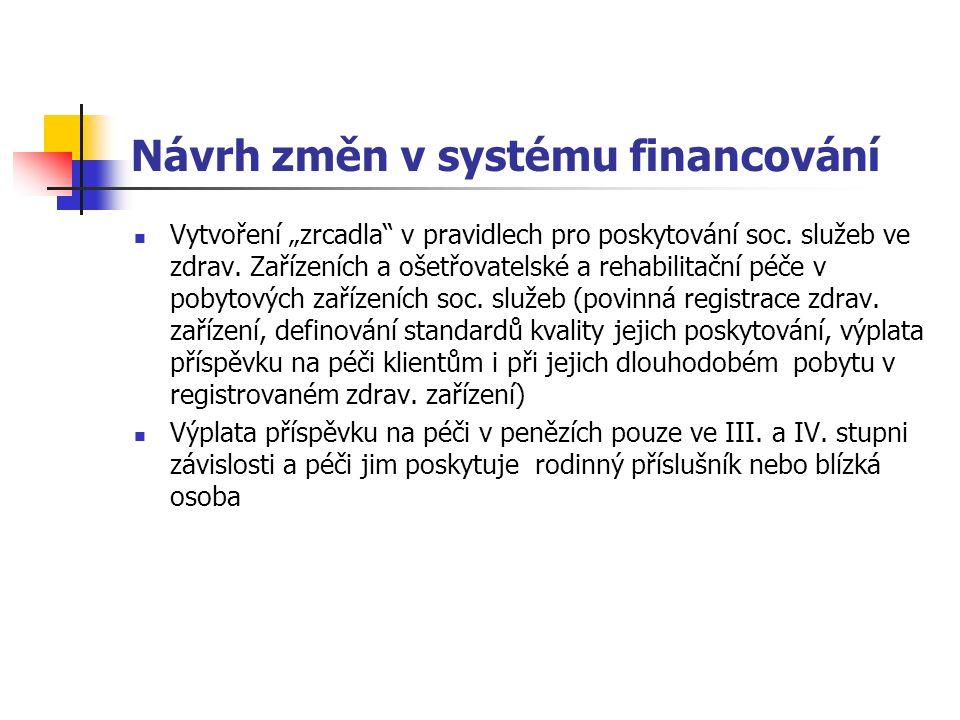 """Návrh změn v systému financování Vytvoření """"zrcadla v pravidlech pro poskytování soc."""