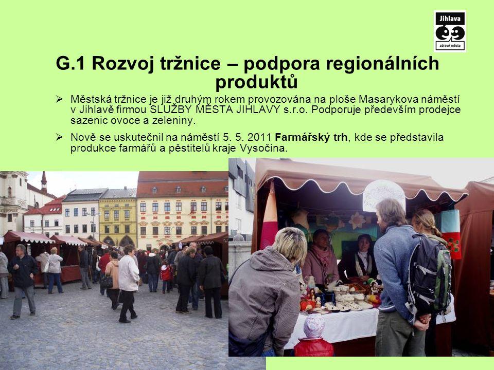 G.1 Rozvoj tržnice – podpora regionálních produktů  Městská tržnice je již druhým rokem provozována na ploše Masarykova náměstí v Jihlavě firmou SLUŽBY MĚSTA JIHLAVY s.r.o.