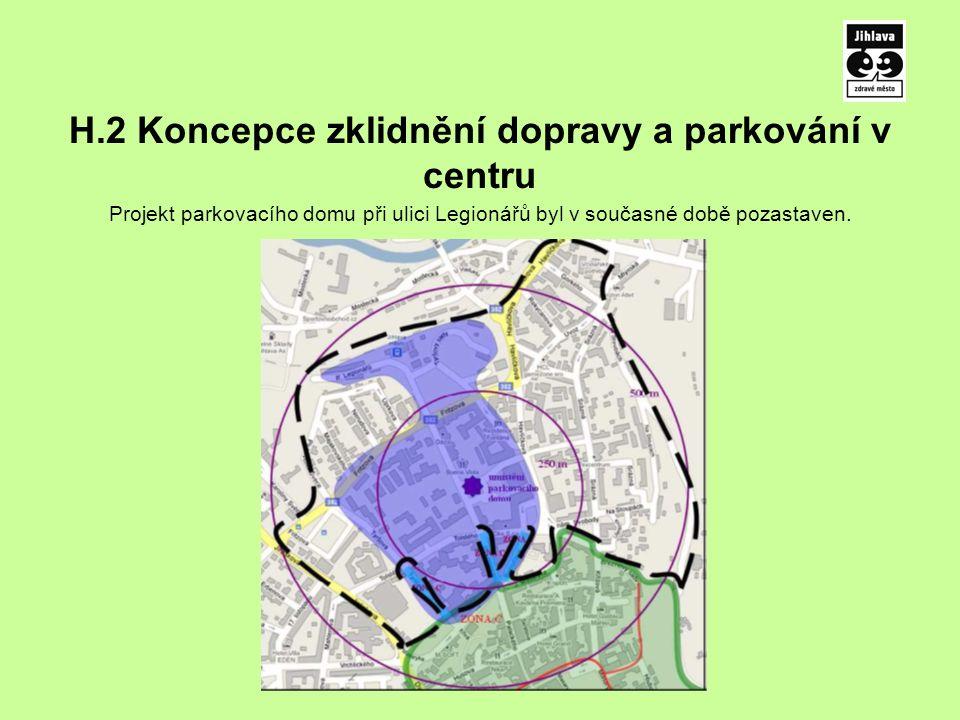 H.2 Koncepce zklidnění dopravy a parkování v centru Projekt parkovacího domu při ulici Legionářů byl v současné době pozastaven.