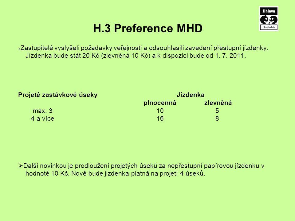 H.3 Preference MHD  Zastupitelé vyslyšeli požadavky veřejnosti a odsouhlasili zavedení přestupní jízdenky.