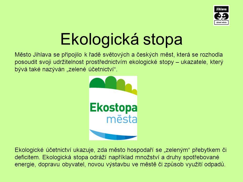 """Ekologická stopa Město Jihlava se připojilo k řadě světových a českých měst, která se rozhodla posoudit svoji udržitelnost prostřednictvím ekologické stopy – ukazatele, který bývá také nazýván """"zelené účetnictví ."""