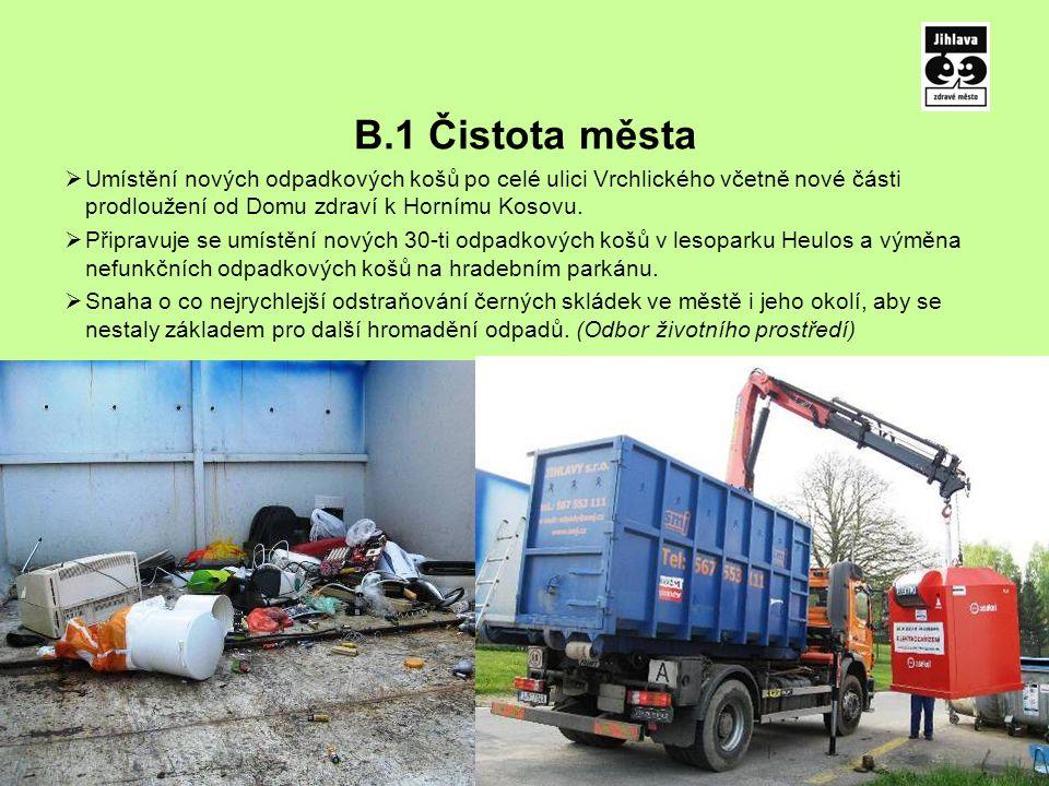 B.1 Čistota města  Umístění nových odpadkových košů po celé ulici Vrchlického včetně nové části prodloužení od Domu zdraví k Hornímu Kosovu.