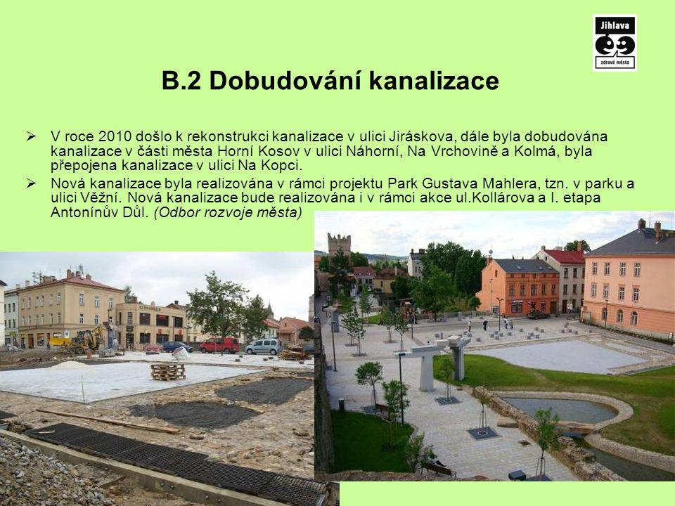 B.2 Dobudování kanalizace  V roce 2010 došlo k rekonstrukci kanalizace v ulici Jiráskova, dále byla dobudována kanalizace v části města Horní Kosov v ulici Náhorní, Na Vrchovině a Kolmá, byla přepojena kanalizace v ulici Na Kopci.
