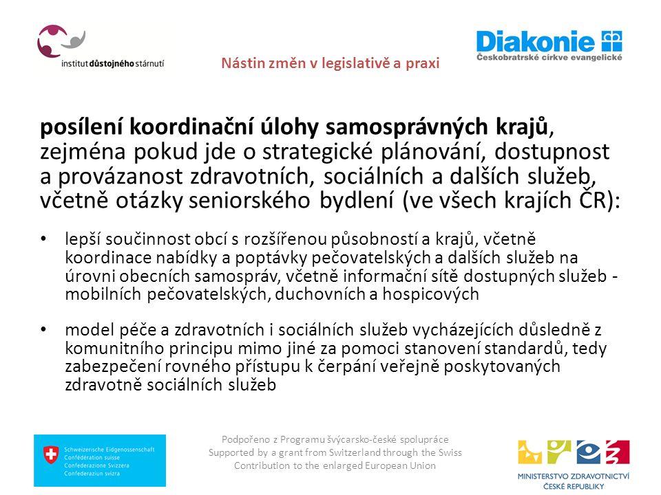 Nástin změn v legislativě a praxi posílení koordinační úlohy samosprávných krajů, zejména pokud jde o strategické plánování, dostupnost a provázanost