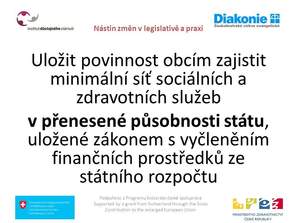 Nástin změn v legislativě a praxi posílení koordinační úlohy samosprávných krajů, zejména pokud jde o strategické plánování, dostupnost a provázanost zdravotních, sociálních a dalších služeb, včetně otázky seniorského bydlení (ve všech krajích ČR): lepší součinnost obcí s rozšířenou působností a krajů, včetně koordinace nabídky a poptávky pečovatelských a dalších služeb na úrovni obecních samospráv, včetně informační sítě dostupných služeb - mobilních pečovatelských, duchovních a hospicových model péče a zdravotních i sociálních služeb vycházejících důsledně z komunitního principu mimo jiné za pomoci stanovení standardů, tedy zabezpečení rovného přístupu k čerpání veřejně poskytovaných zdravotně sociálních služeb Podpořeno z Programu švýcarsko-české spolupráce Supported by a grant from Switzerland through the Swiss Contribution to the enlarged European Union