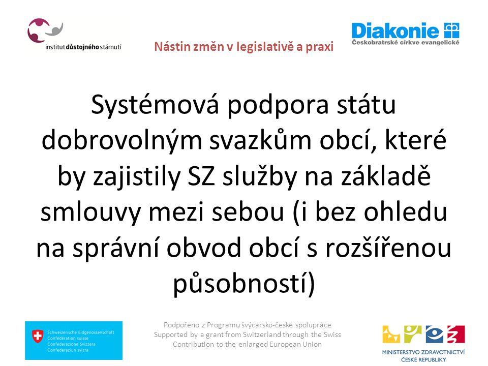 Nástin změn v legislativě a praxi Systémová podpora státu dobrovolným svazkům obcí, které by zajistily SZ služby na základě smlouvy mezi sebou (i bez