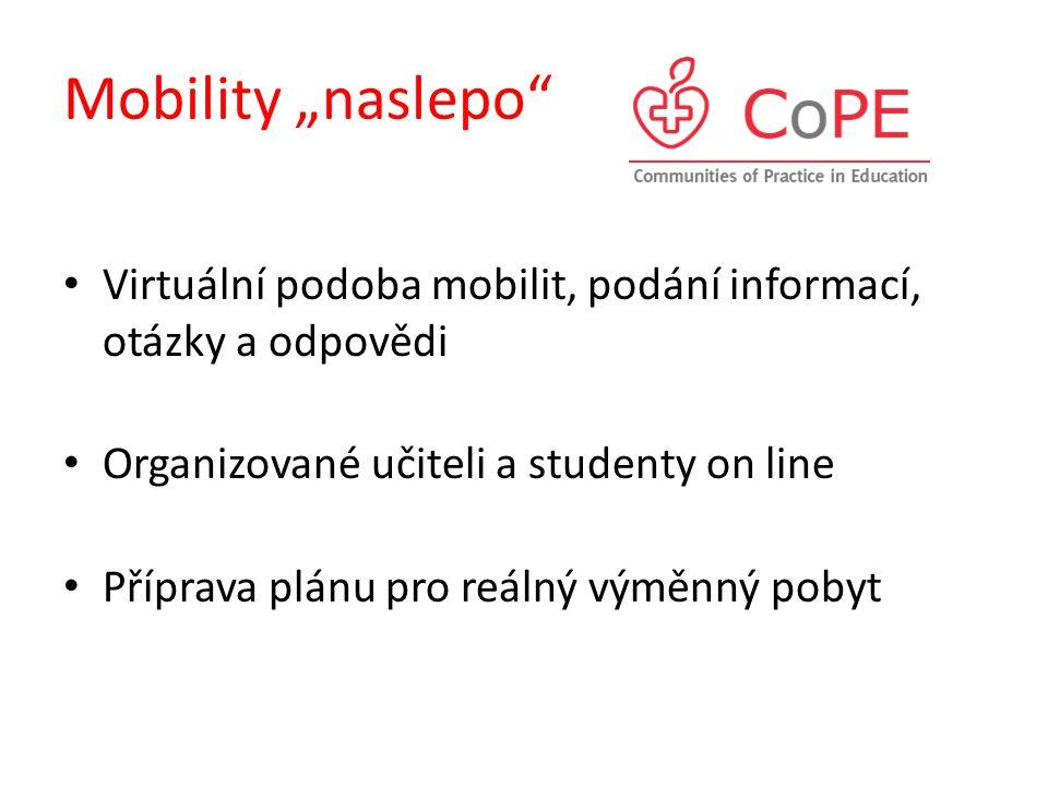 """Mobility """"naslepo"""" Virtuální podoba mobilit, podání informací, otázky a odpovědi Organizované učiteli a studenty on line Příprava plánu pro reálný vým"""