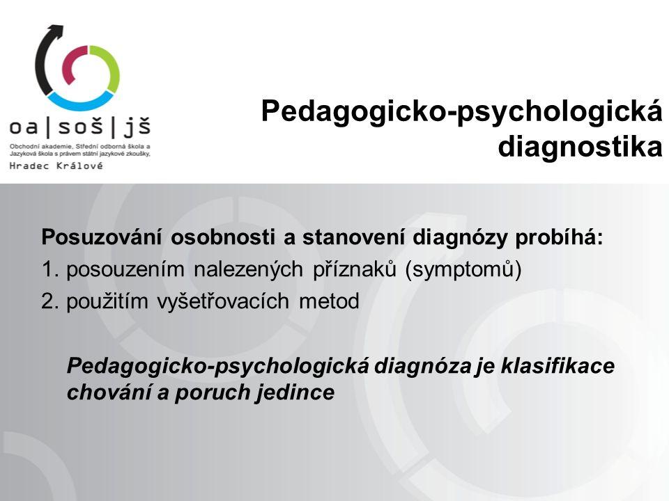 Pedagogicko-psychologická diagnostika Posuzování osobnosti a stanovení diagnózy probíhá: 1.posouzením nalezených příznaků (symptomů) 2.použitím vyšetřovacích metod Pedagogicko-psychologická diagnóza je klasifikace chování a poruch jedince