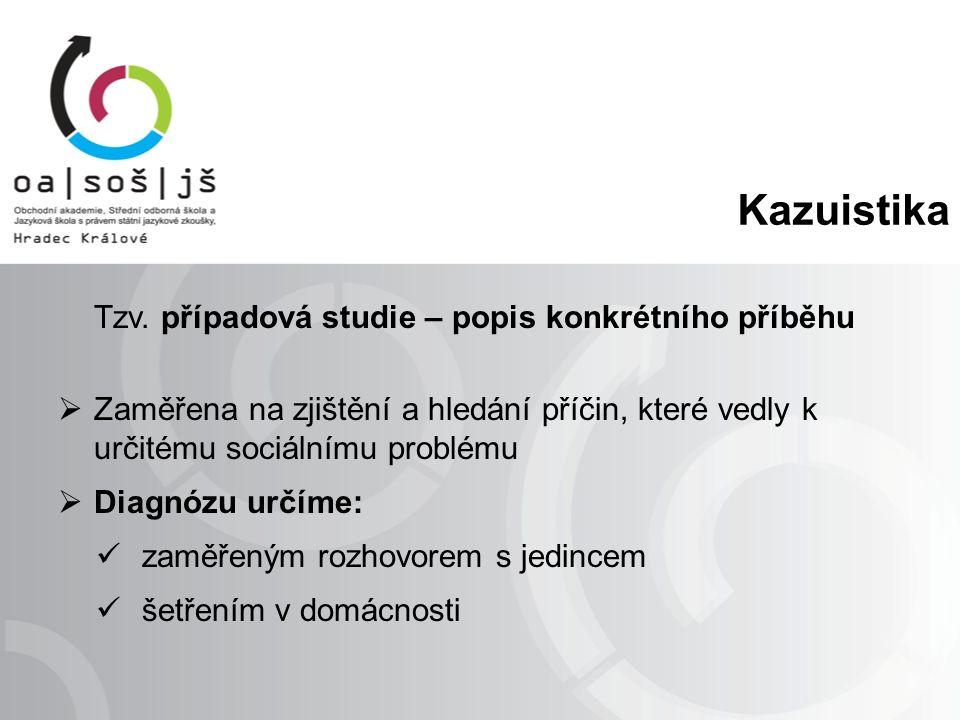 Kazuistika Tzv. případová studie – popis konkrétního příběhu  Zaměřena na zjištění a hledání příčin, které vedly k určitému sociálnímu problému  Dia