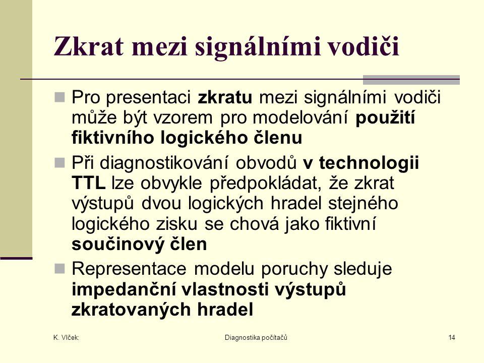 K. Vlček: Diagnostika počítačů14 Zkrat mezi signálními vodiči Pro presentaci zkratu mezi signálními vodiči může být vzorem pro modelování použití fikt