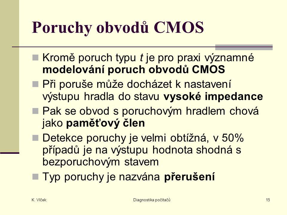 K. Vlček: Diagnostika počítačů15 Poruchy obvodů CMOS Kromě poruch typu t je pro praxi významné modelování poruch obvodů CMOS Při poruše může docházet