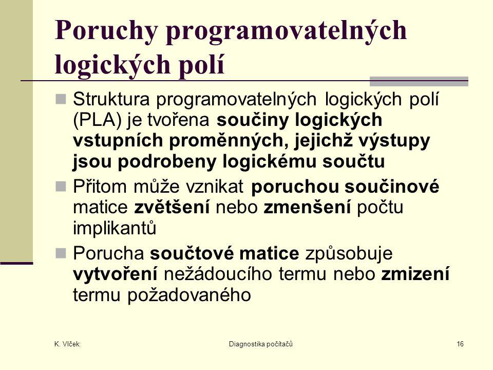 K. Vlček: Diagnostika počítačů16 Poruchy programovatelných logických polí Struktura programovatelných logických polí (PLA) je tvořena součiny logickýc