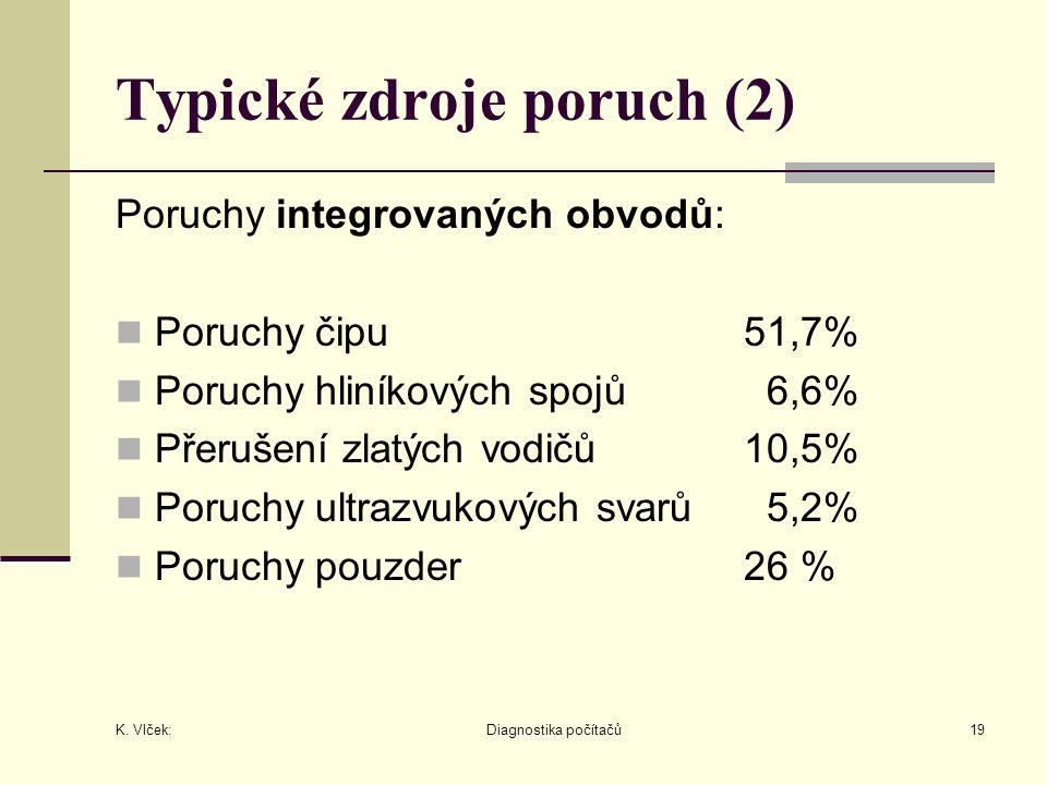 K. Vlček: Diagnostika počítačů19 Typické zdroje poruch (2) Poruchy integrovaných obvodů: Poruchy čipu51,7% Poruchy hliníkových spojů 6,6% Přerušení zl