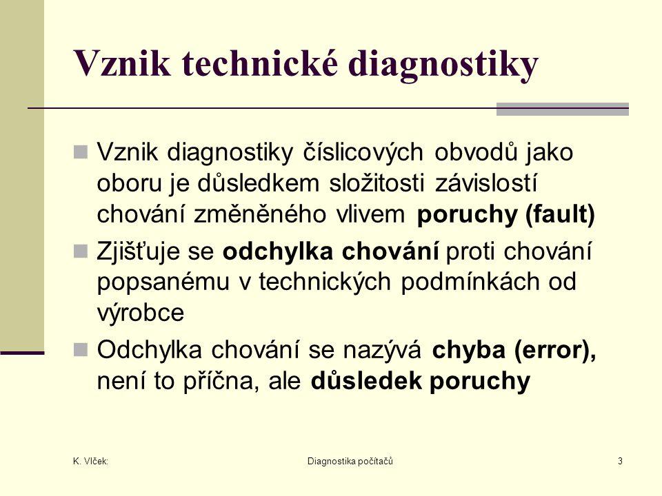 K. Vlček: Diagnostika počítačů3 Vznik technické diagnostiky Vznik diagnostiky číslicových obvodů jako oboru je důsledkem složitosti závislostí chování