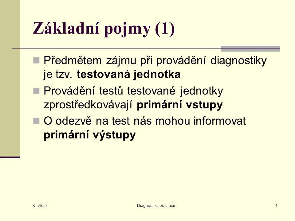 K. Vlček: Diagnostika počítačů4 Základní pojmy (1) Předmětem zájmu při provádění diagnostiky je tzv. testovaná jednotka Provádění testů testované jedn