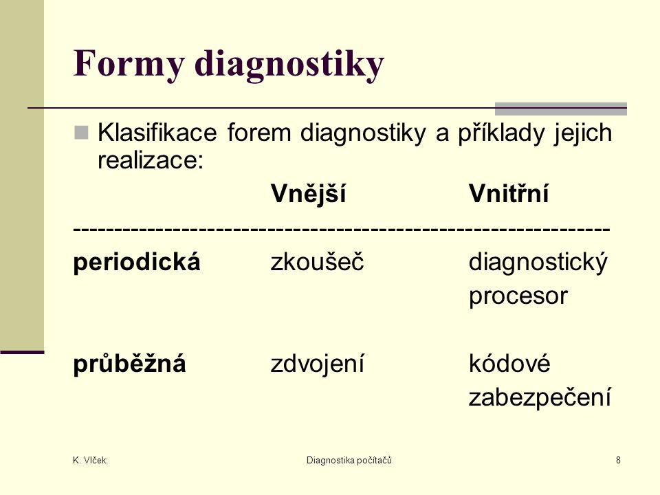 K. Vlček: Diagnostika počítačů8 Formy diagnostiky Klasifikace forem diagnostiky a příklady jejich realizace: VnějšíVnitřní ---------------------------