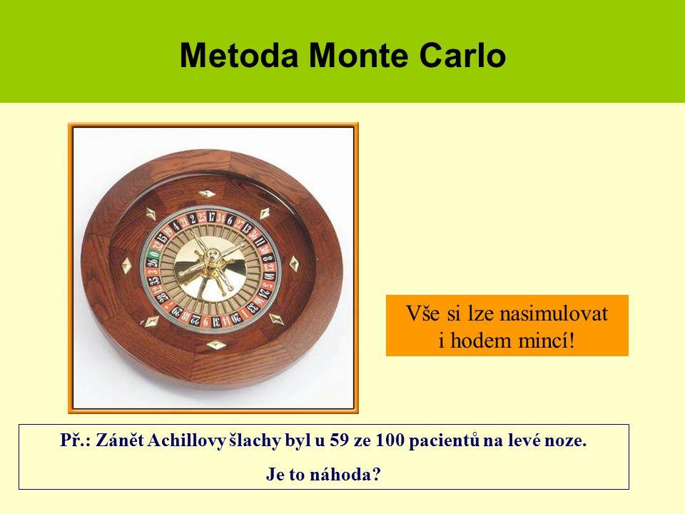 Metoda Monte Carlo Vše si lze nasimulovat i hodem mincí! Př.: Zánět Achillovy šlachy byl u 59 ze 100 pacientů na levé noze. Je to náhoda?