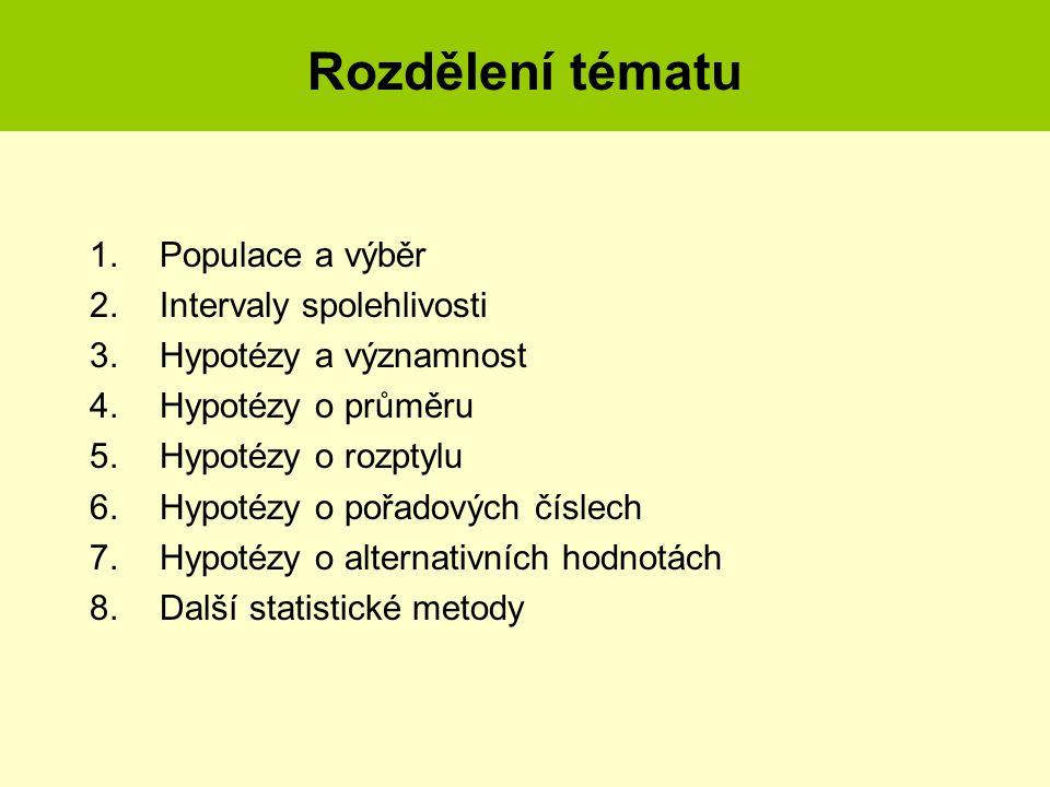 Rozdělení tématu 1.Populace a výběr 2.Intervaly spolehlivosti 3.Hypotézy a významnost 4.Hypotézy o průměru 5.Hypotézy o rozptylu 6.Hypotézy o pořadový