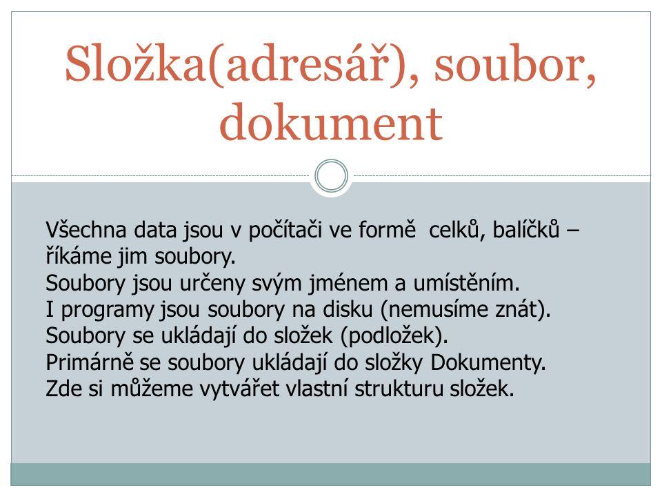 Složka(adresář), soubor, dokument Všechna data jsou v počítači ve formě celků, balíčků – říkáme jim soubory. Soubory jsou určeny svým jménem a umístěn