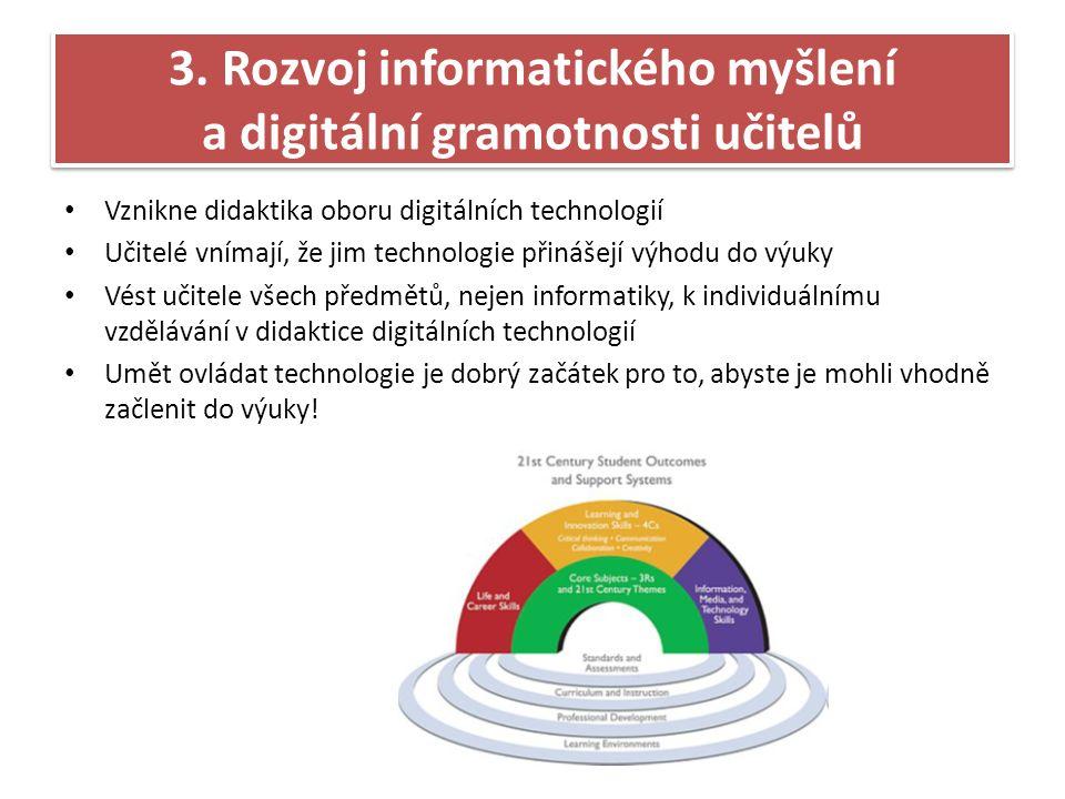 Vznikne didaktika oboru digitálních technologií Učitelé vnímají, že jim technologie přinášejí výhodu do výuky Vést učitele všech předmětů, nejen informatiky, k individuálnímu vzdělávání v didaktice digitálních technologií Umět ovládat technologie je dobrý začátek pro to, abyste je mohli vhodně začlenit do výuky.