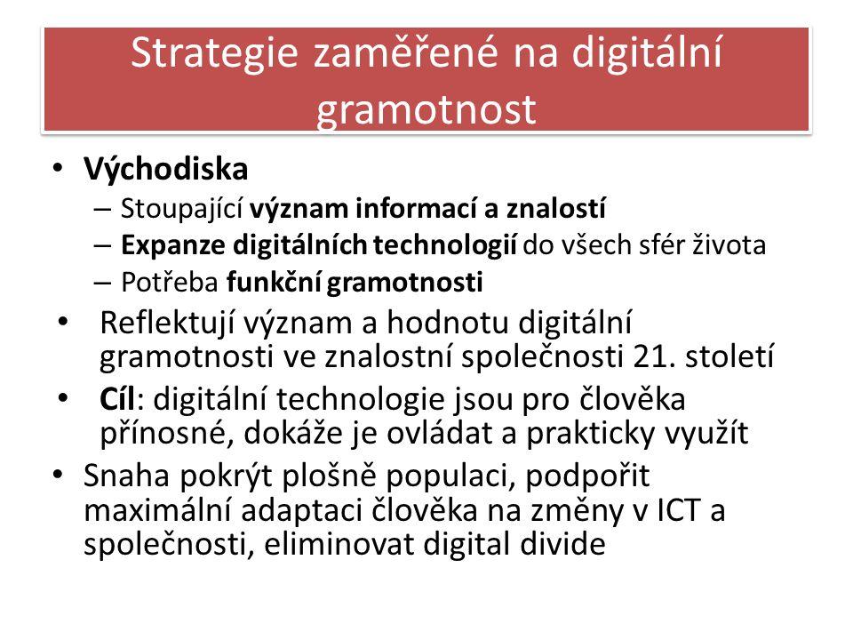 Strategie zaměřené na digitální gramotnost Východiska – Stoupající význam informací a znalostí – Expanze digitálních technologií do všech sfér života – Potřeba funkční gramotnosti Reflektují význam a hodnotu digitální gramotnosti ve znalostní společnosti 21.