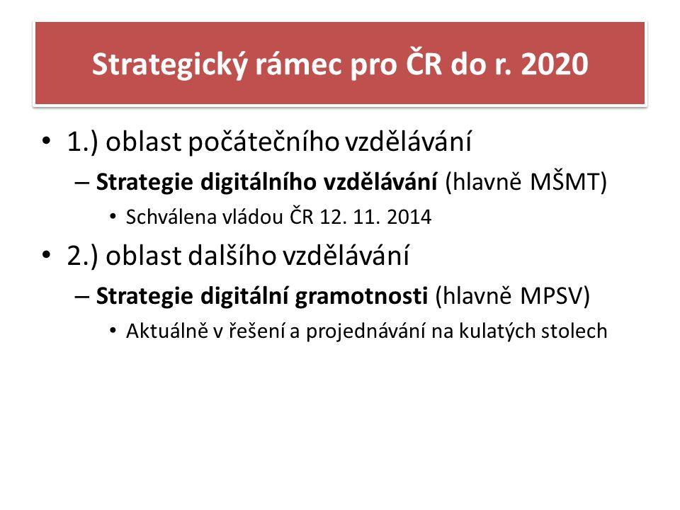 Strategie digitálního vzdělávání v ČR závěr roku 2014 implikace vývoje digitálního vzdělávání Priority: 1.) Snižování nerovností ve vzdělávání 2.) Podpora kvality výuky a učitelů jako hlavního předpokladu 3.) Odpovědné řízení vzdělávacího systému