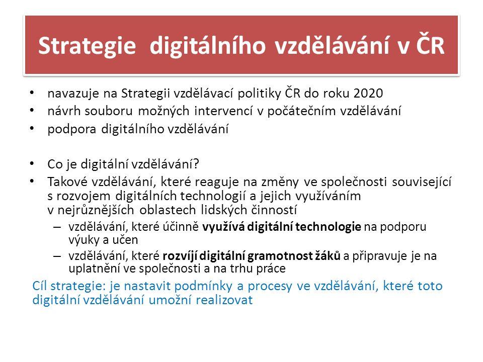 Strategie digitálního vzdělávání v ČR navazuje na Strategii vzdělávací politiky ČR do roku 2020 návrh souboru možných intervencí v počátečním vzdělávání podpora digitálního vzdělávání Co je digitální vzdělávání.
