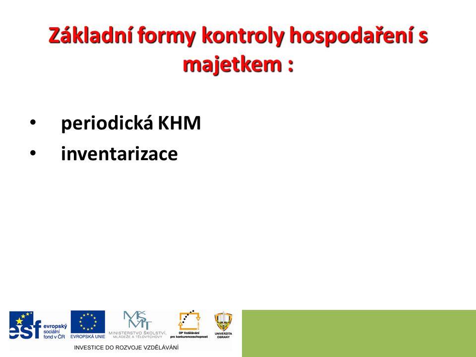 Základní formy kontroly hospodaření s majetkem : periodická KHM inventarizace