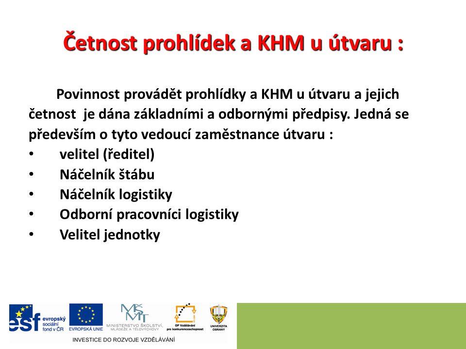 Četnost prohlídek a KHM u útvaru : Povinnost provádět prohlídky a KHM u útvaru a jejich četnost je dána základními a odbornými předpisy.